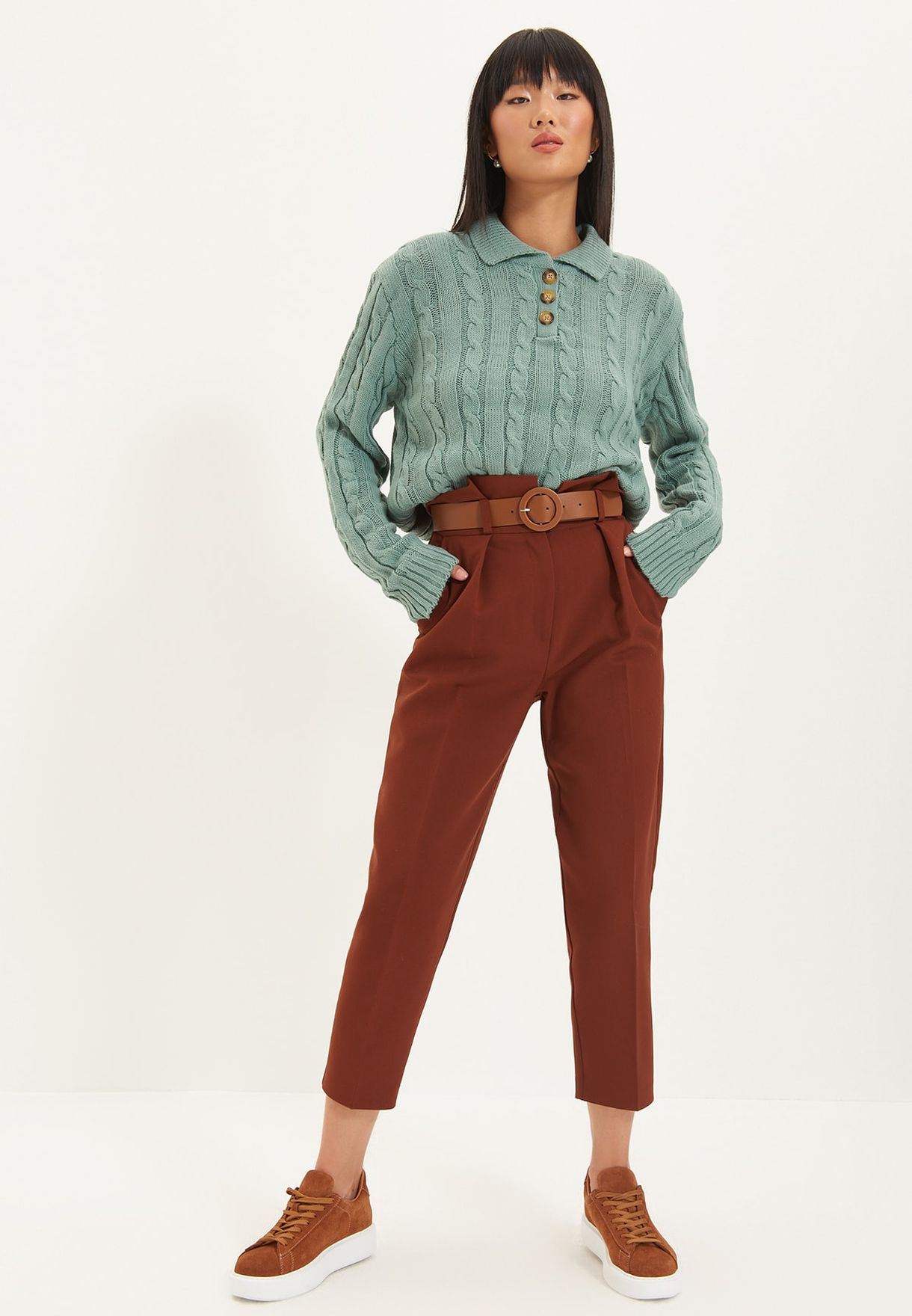 Polo Neck Knitted Sweater