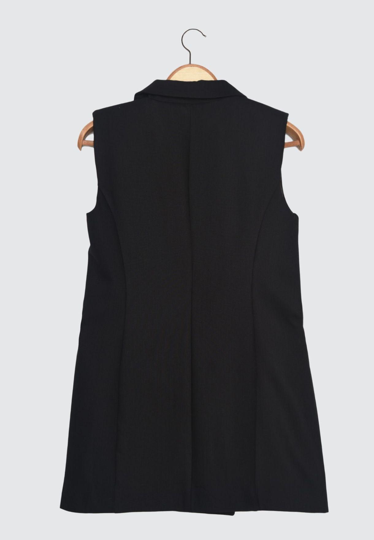 Pocket Detail Longline Waistcoat
