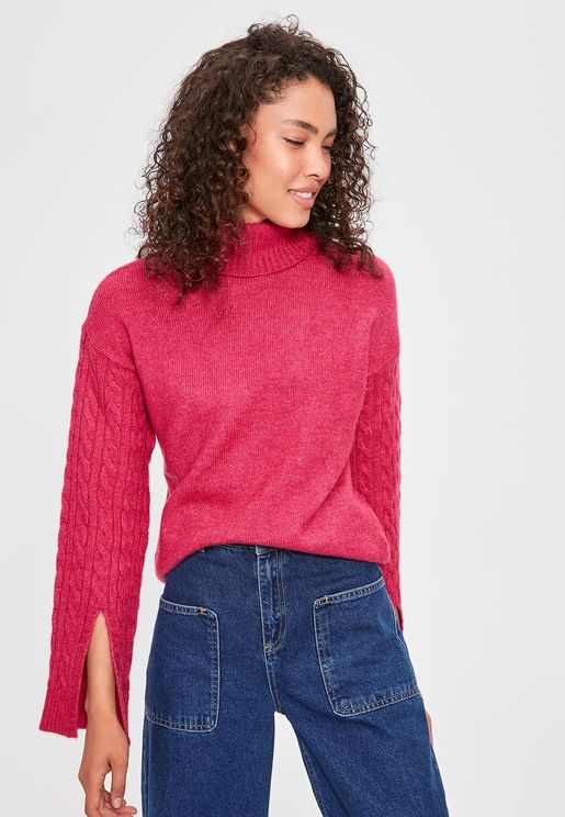 Cable Knit Slit Sleeve Sweater