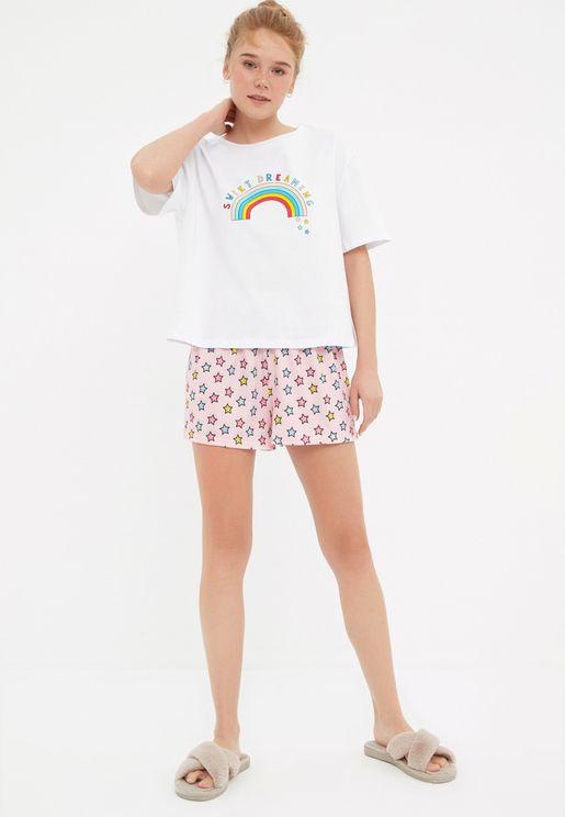 Printed Knitted Pajama Set