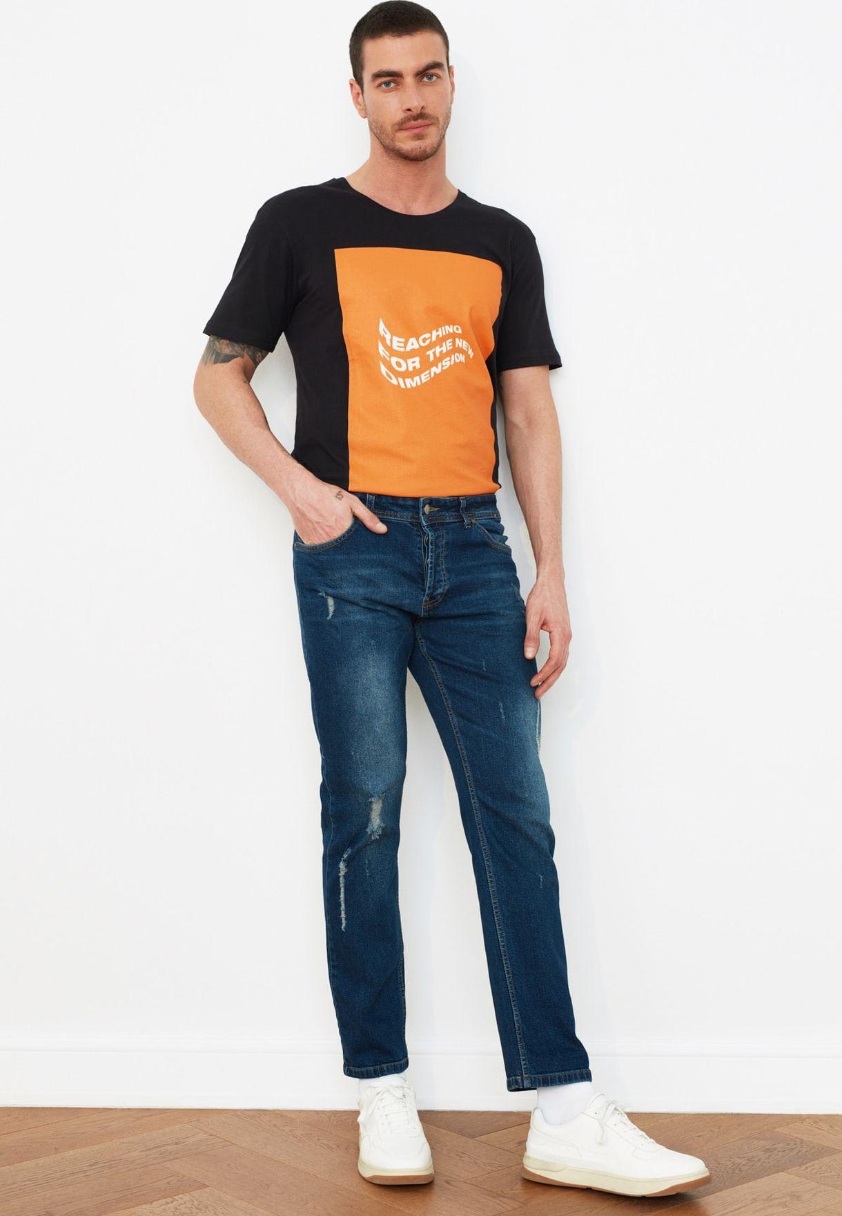 Slim Fit Destroyed Jeans