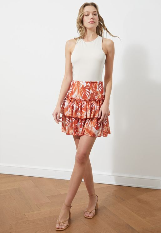 Printed Knitted Mini Skirt