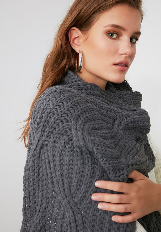 Anthracite Knit Detailed Knitwear Scarf