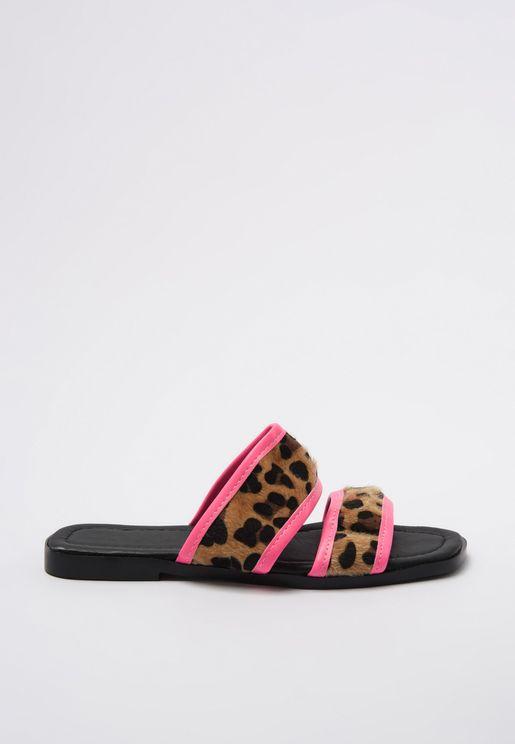 Animal Print Multi Strap Flat Sandal