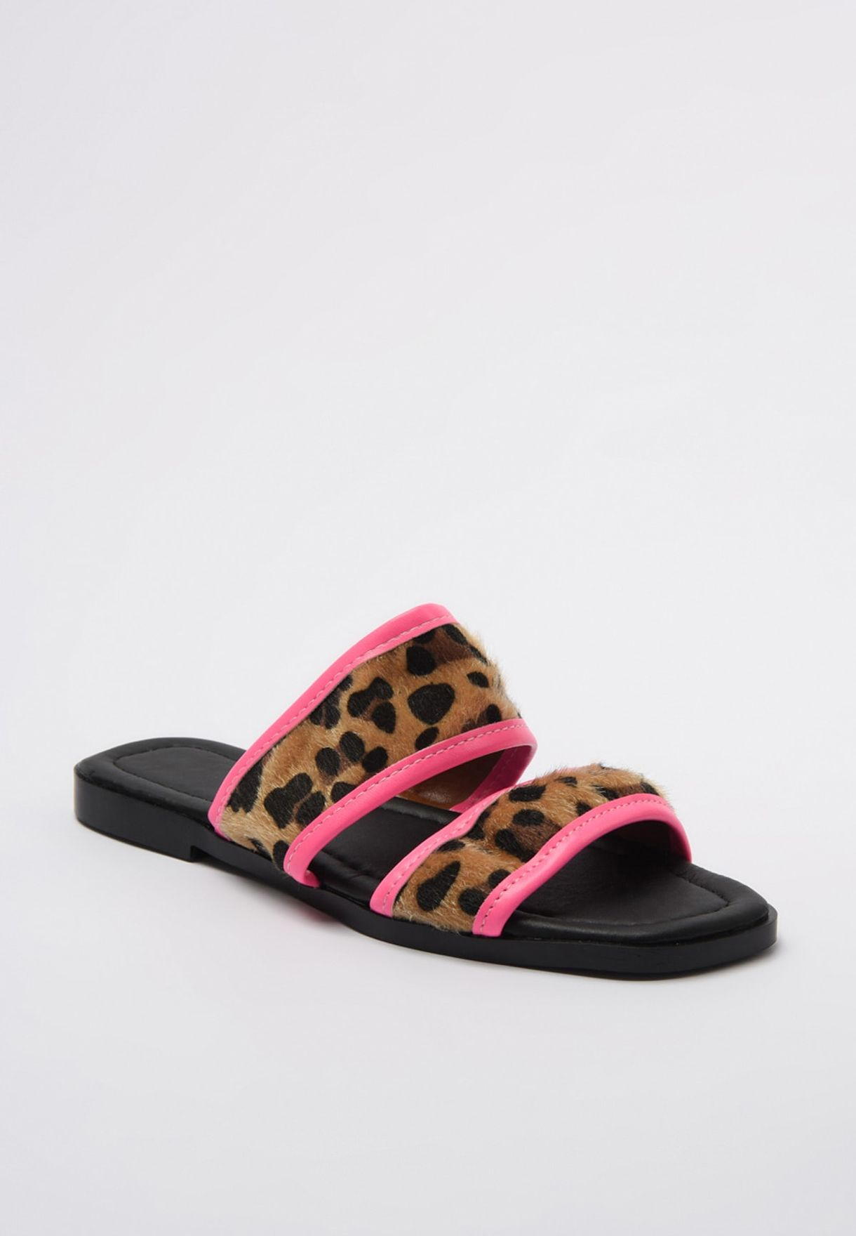 Trendyol Animal Print Multi Strap Flat Sandal - Brand Shoes