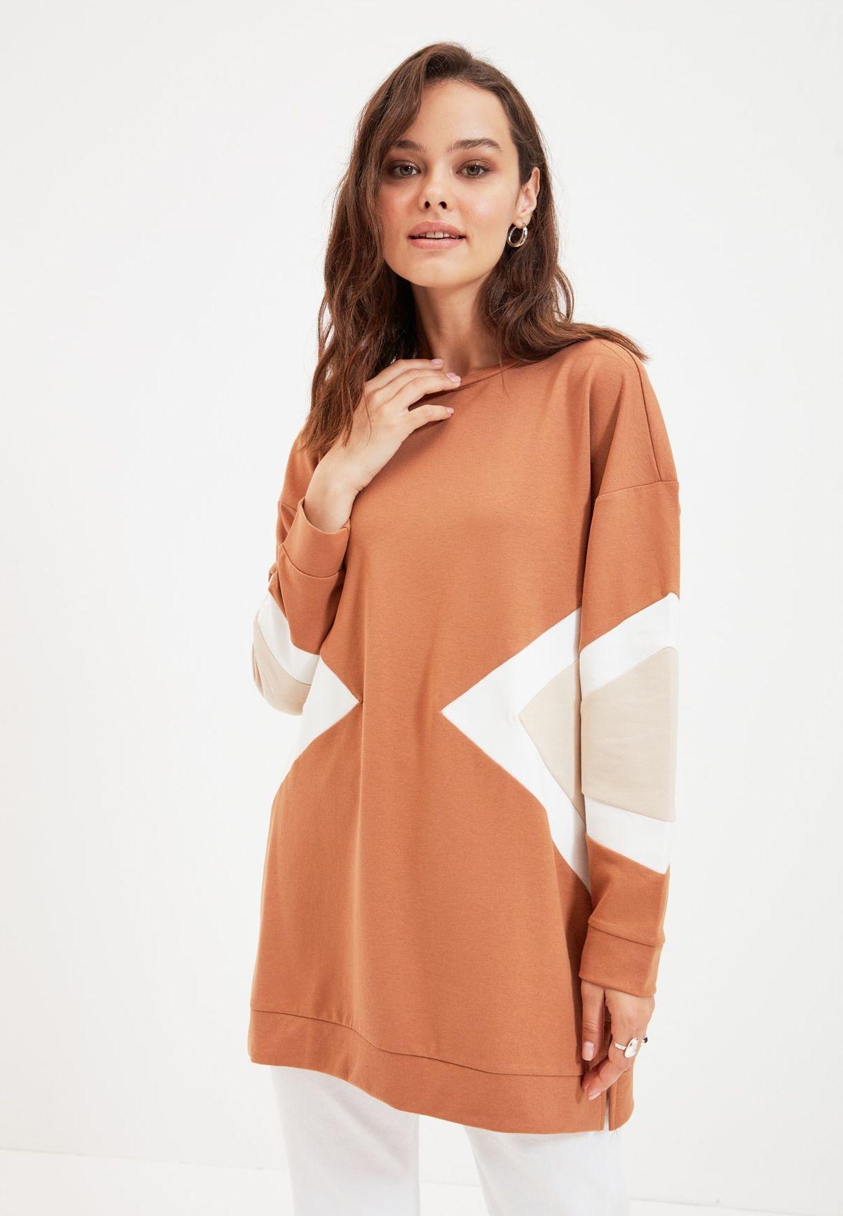 Colorblock Knitted Sweatshirt