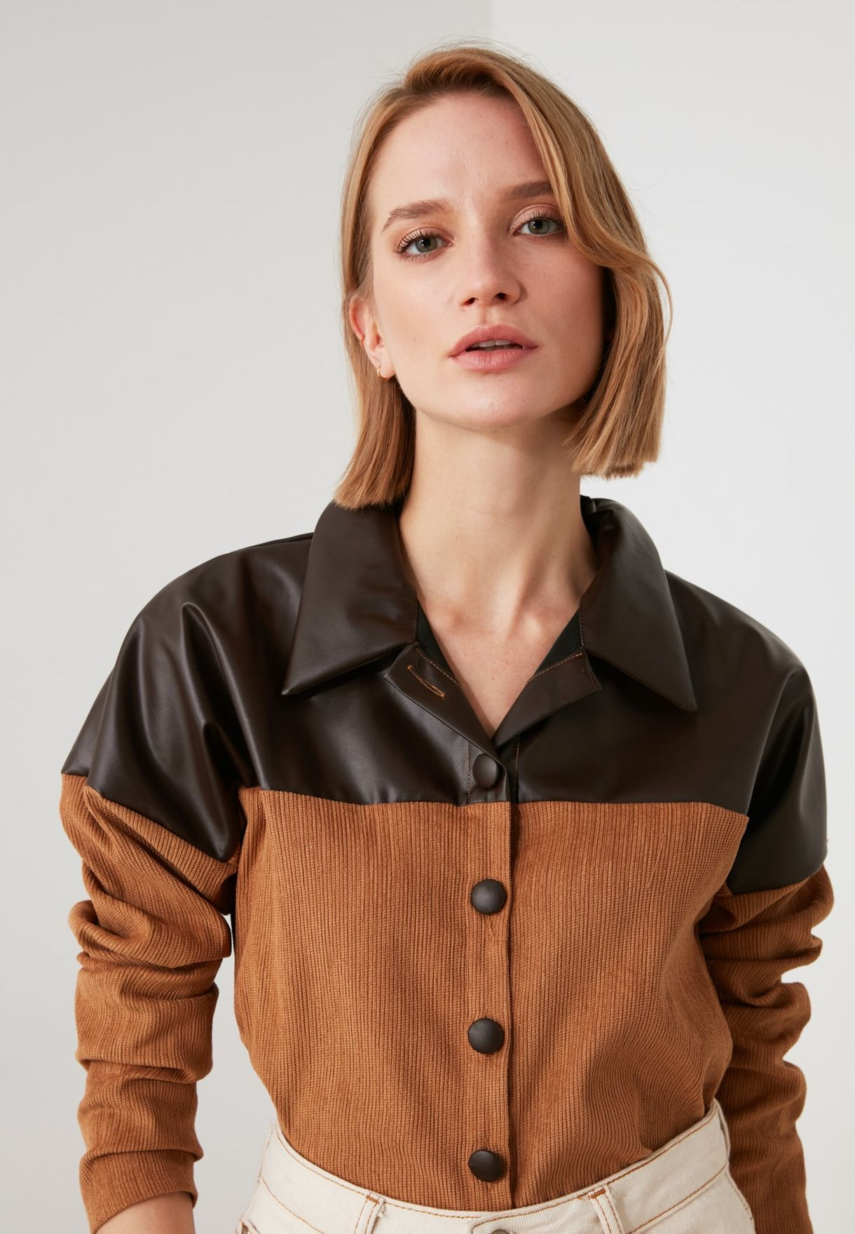 Leather Detailed Shirt