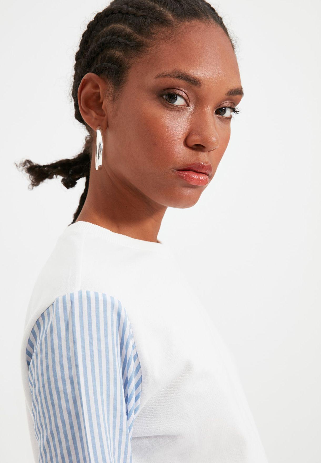 Striped Sleeve Sweatshirt
