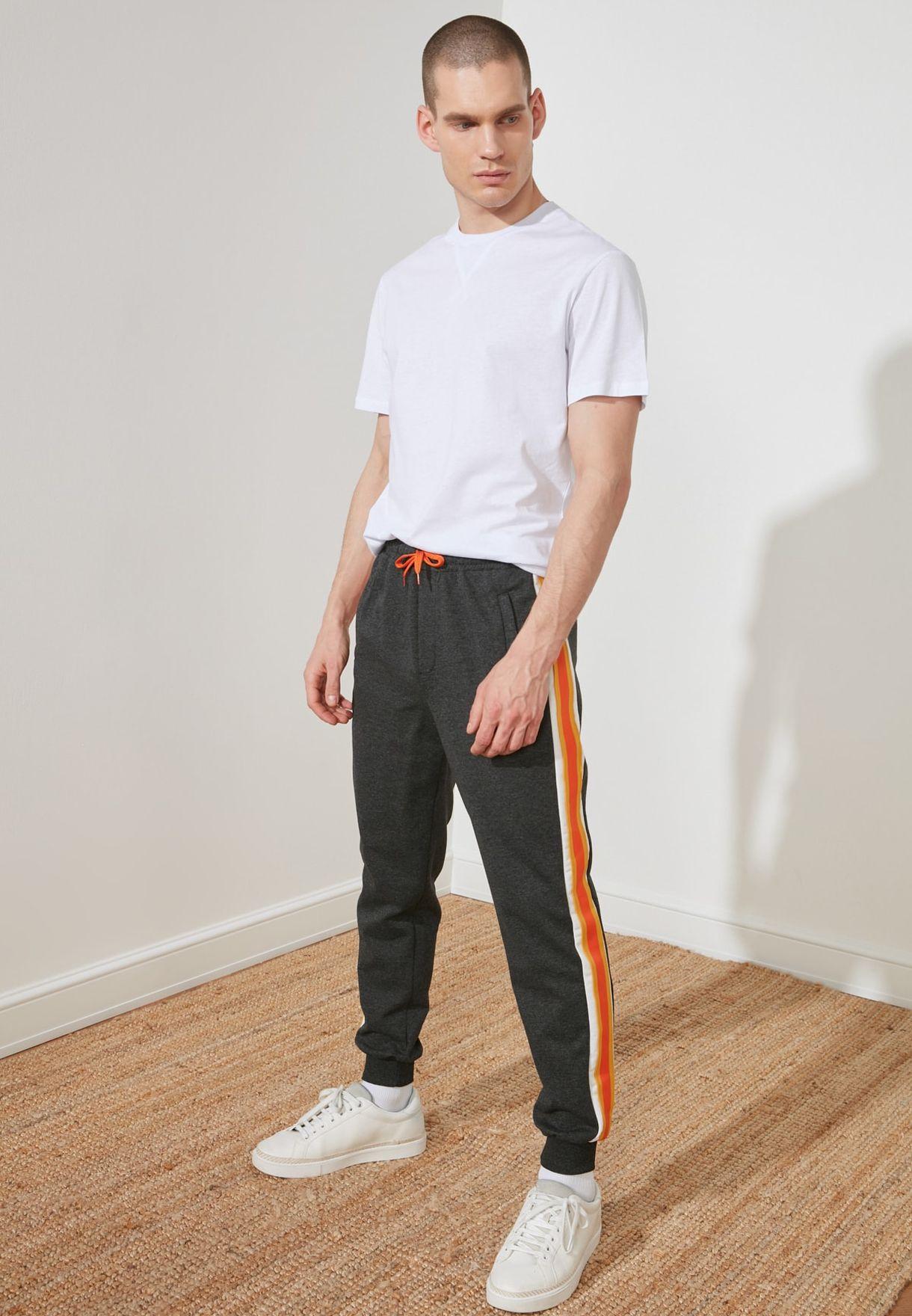 Side Stripe Cuffed Sweatpants