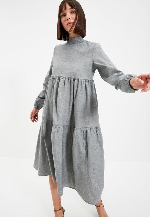 High Neck Tiered Dress