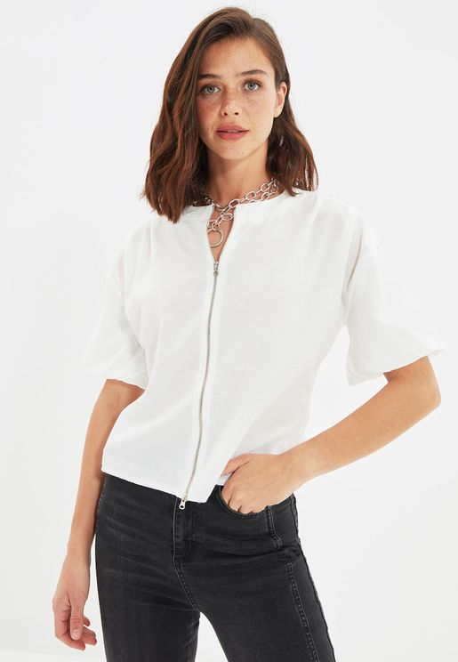 Zip Through Knitted Top