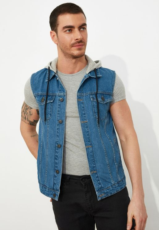 Hooded Denim Gilet