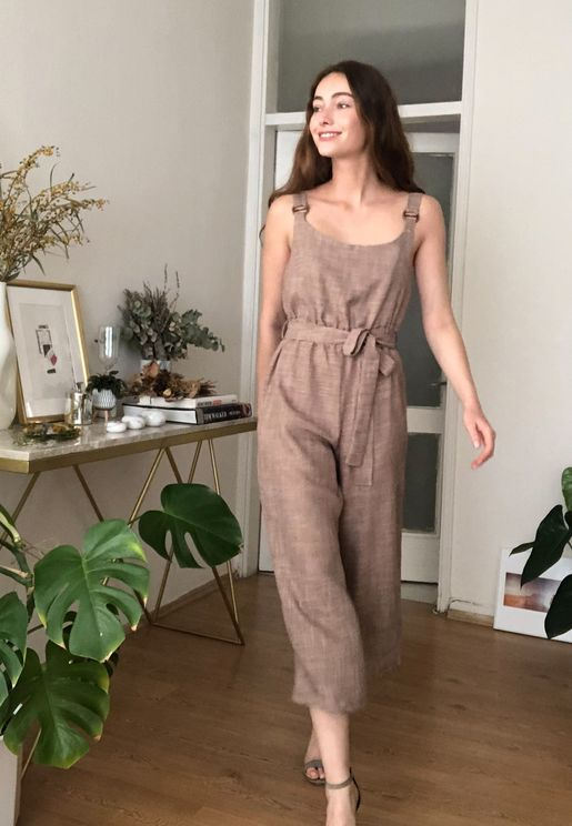 Wide Strap Cropped Jumpsuit