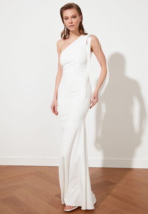 Tassel Detail One Shoulder Dress