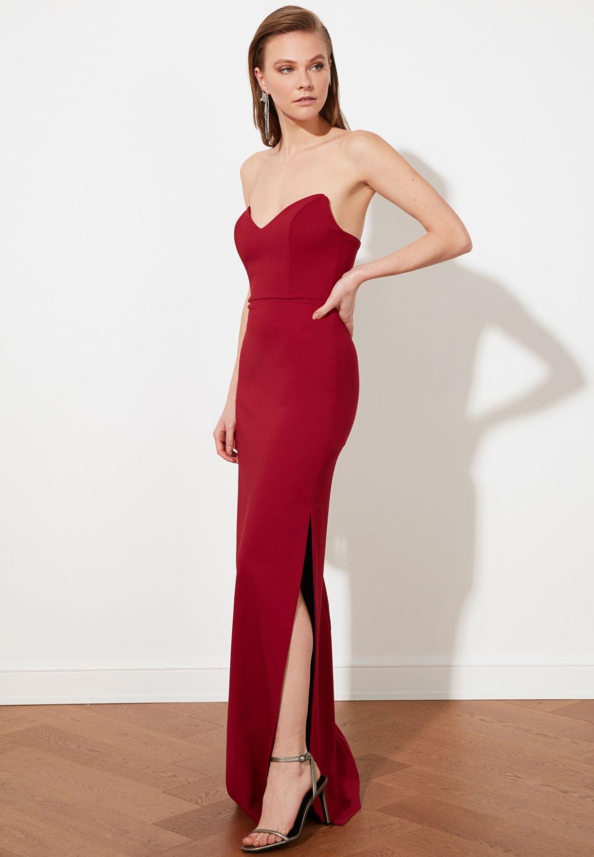 Bandeau Front Split Dress
