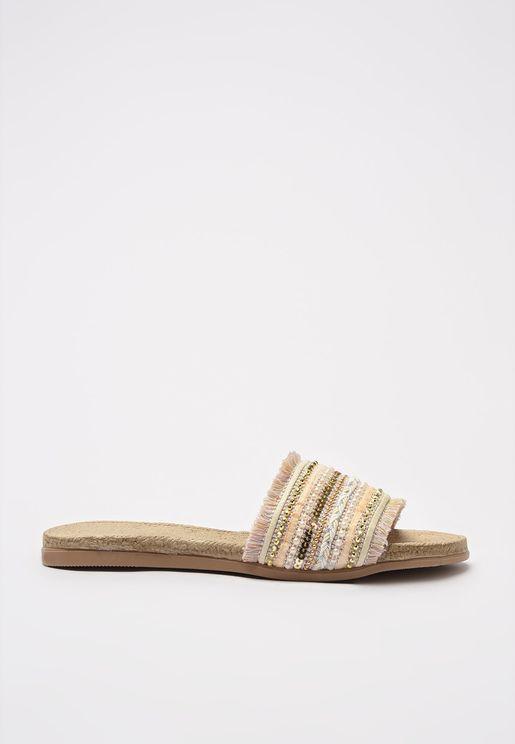 White Ethnic Women'S Slippers