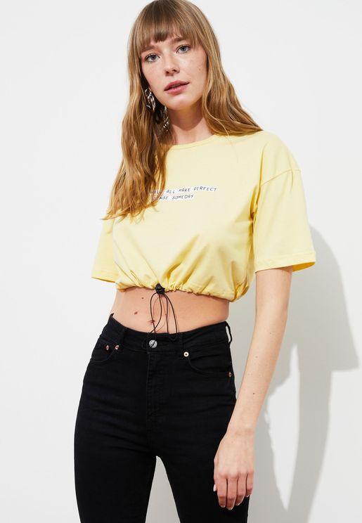 Slogan Knitted Crop Top