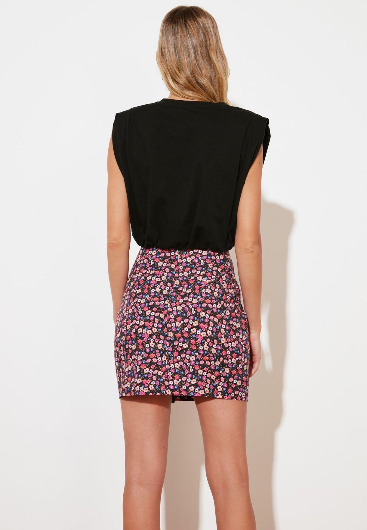 Lace Detail Mini  Skirt