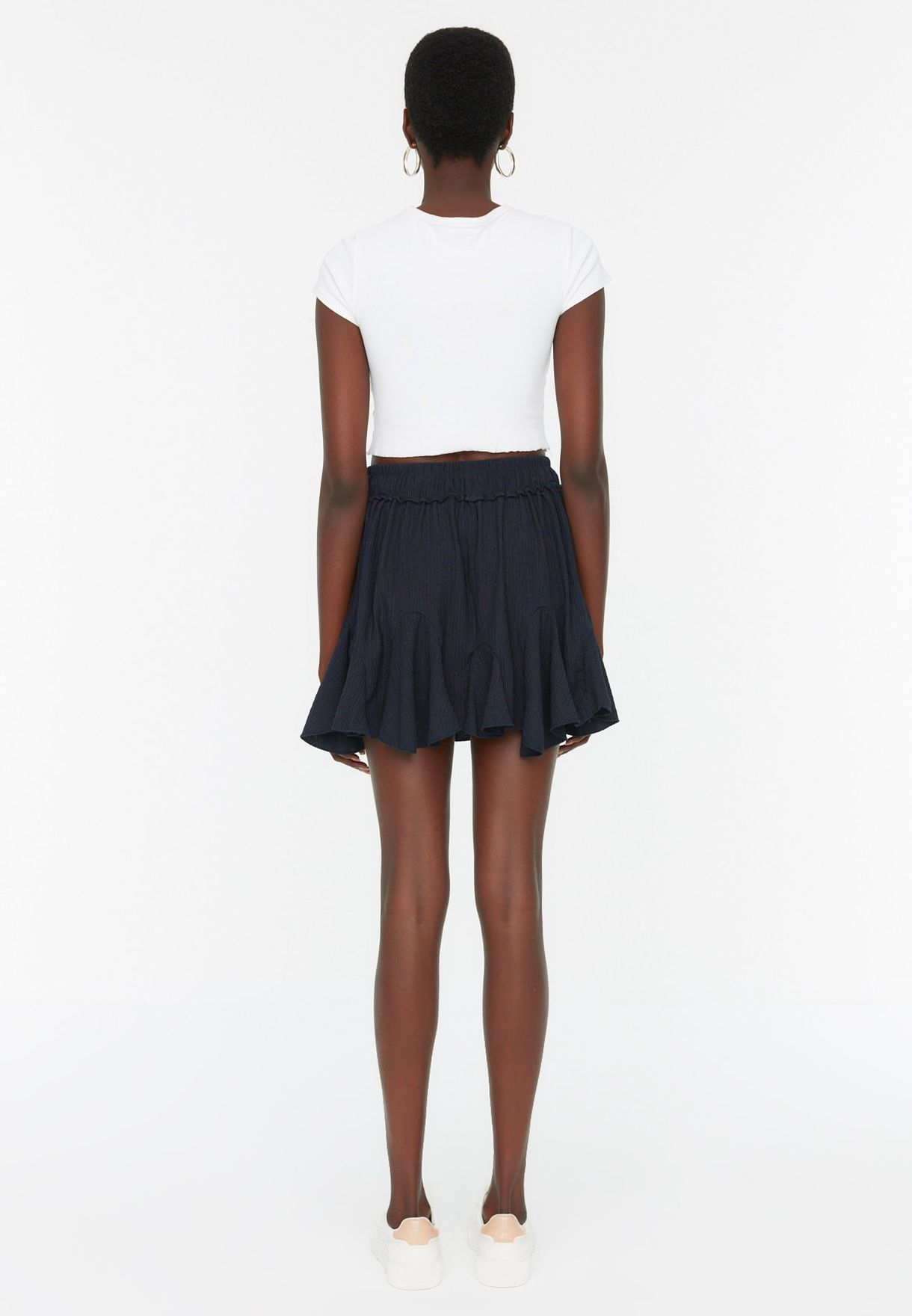 Ruffle Hem Asymmetric Skirt