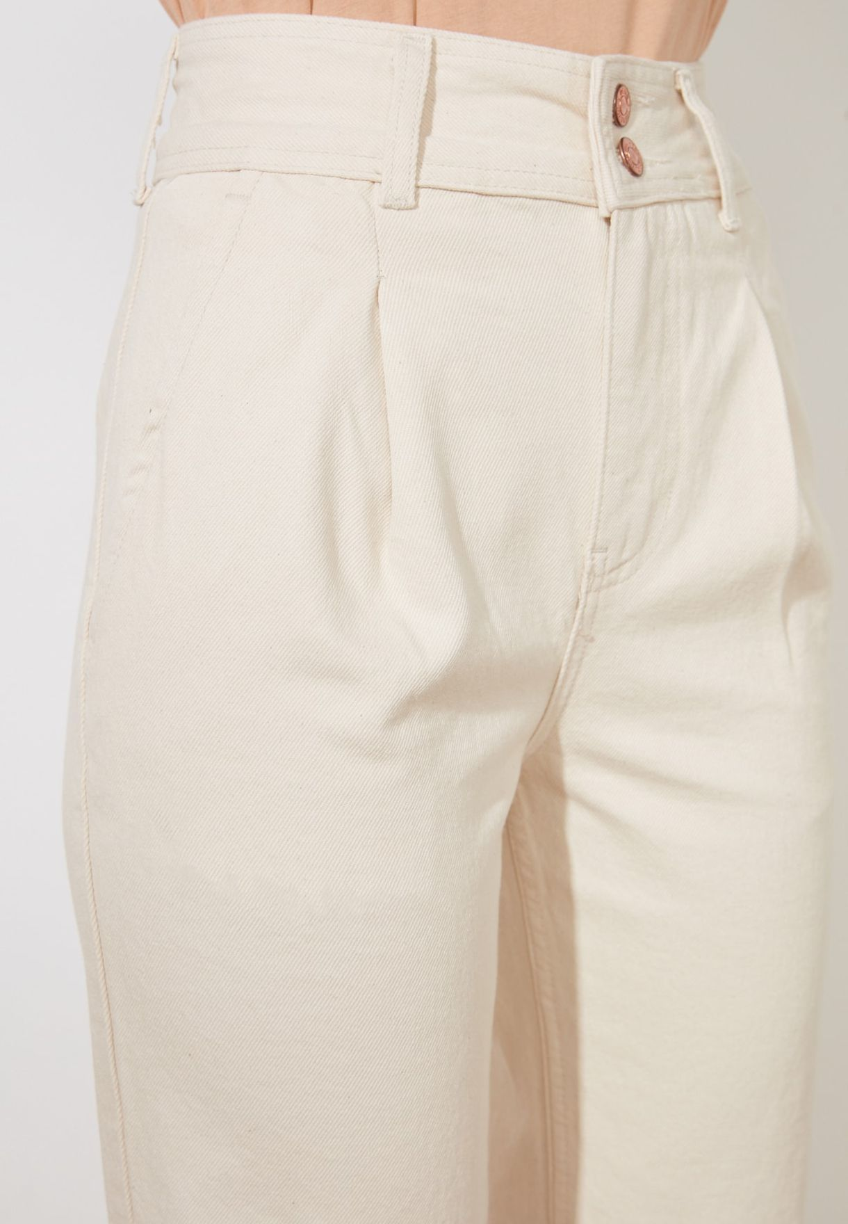 Button Detail Pleated Relaxed Mom Jeans