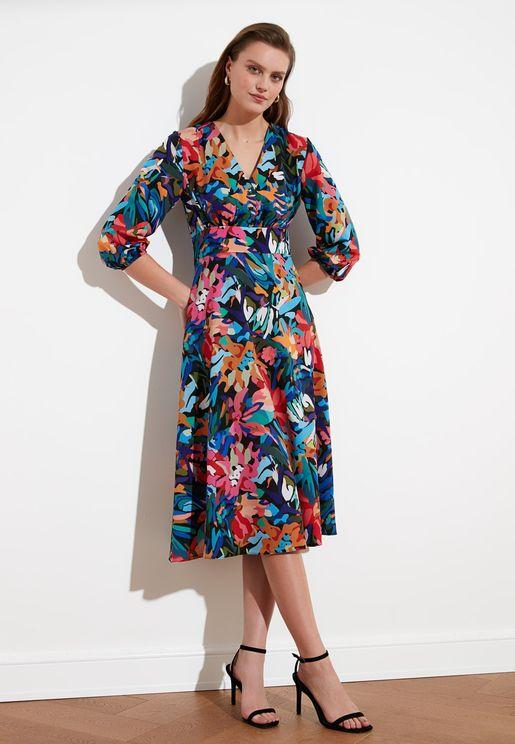 V-Neck Floral Print Dress