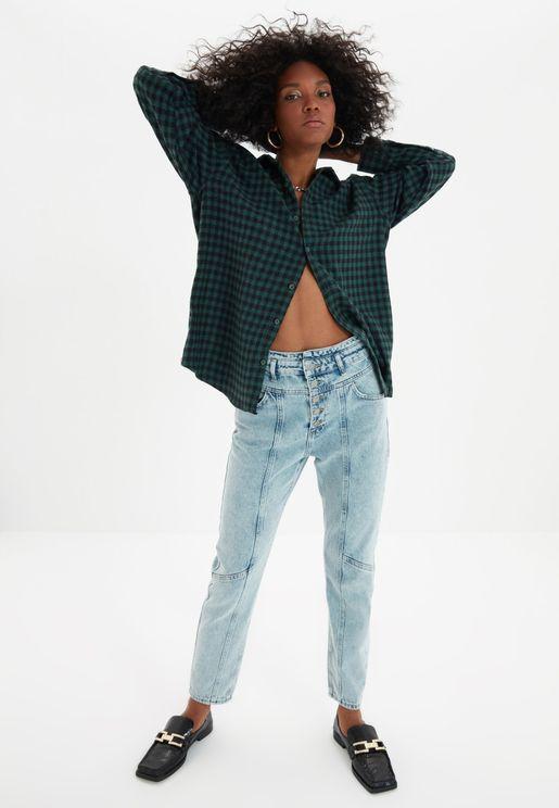 Button Detail High Waist Mom Jeans