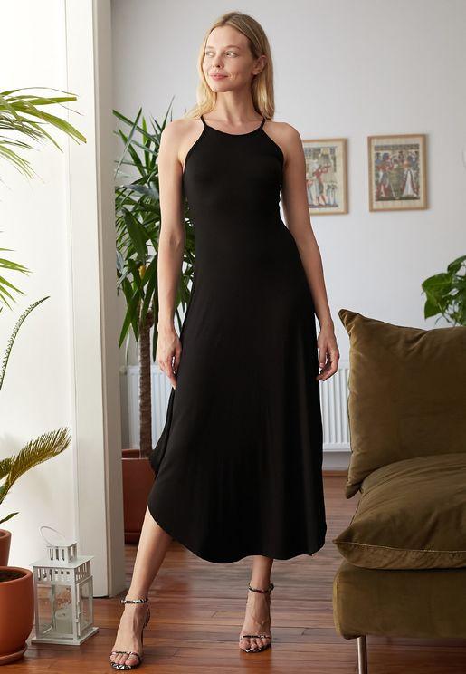 Curved Hem Cami Strap Dress