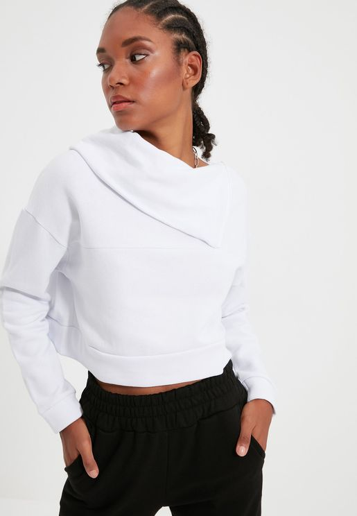 Zip Detail Turtleneck Sweatshirt