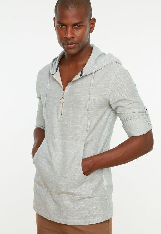 Half Zip Hooded Regular Fit Shirt
