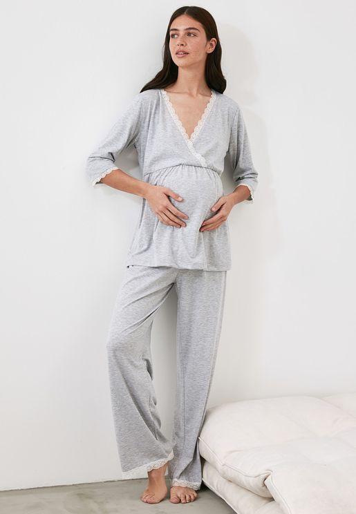 Lace Trim Top & Pyjama Set