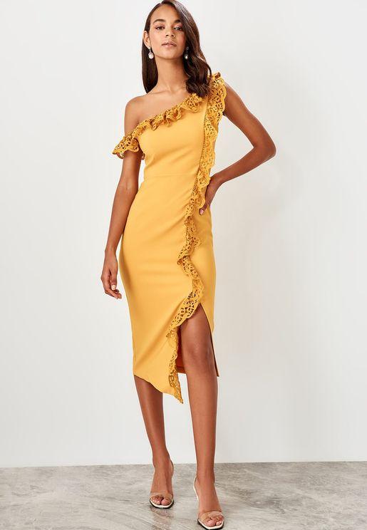 One Shoulder Side Split Lace Dress