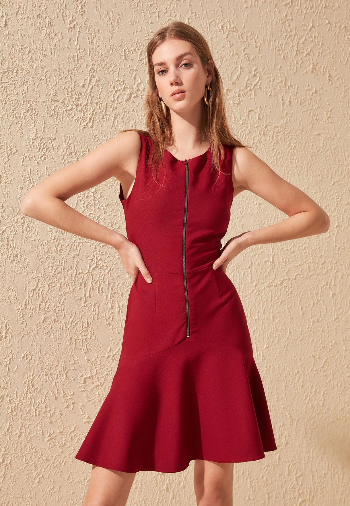 Zip Detail Skater Dress