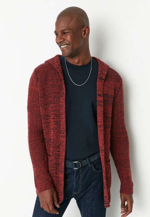 Hooded Knitted Long Cardigan