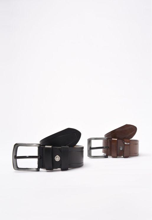 2-Piece Faux Leather Belt