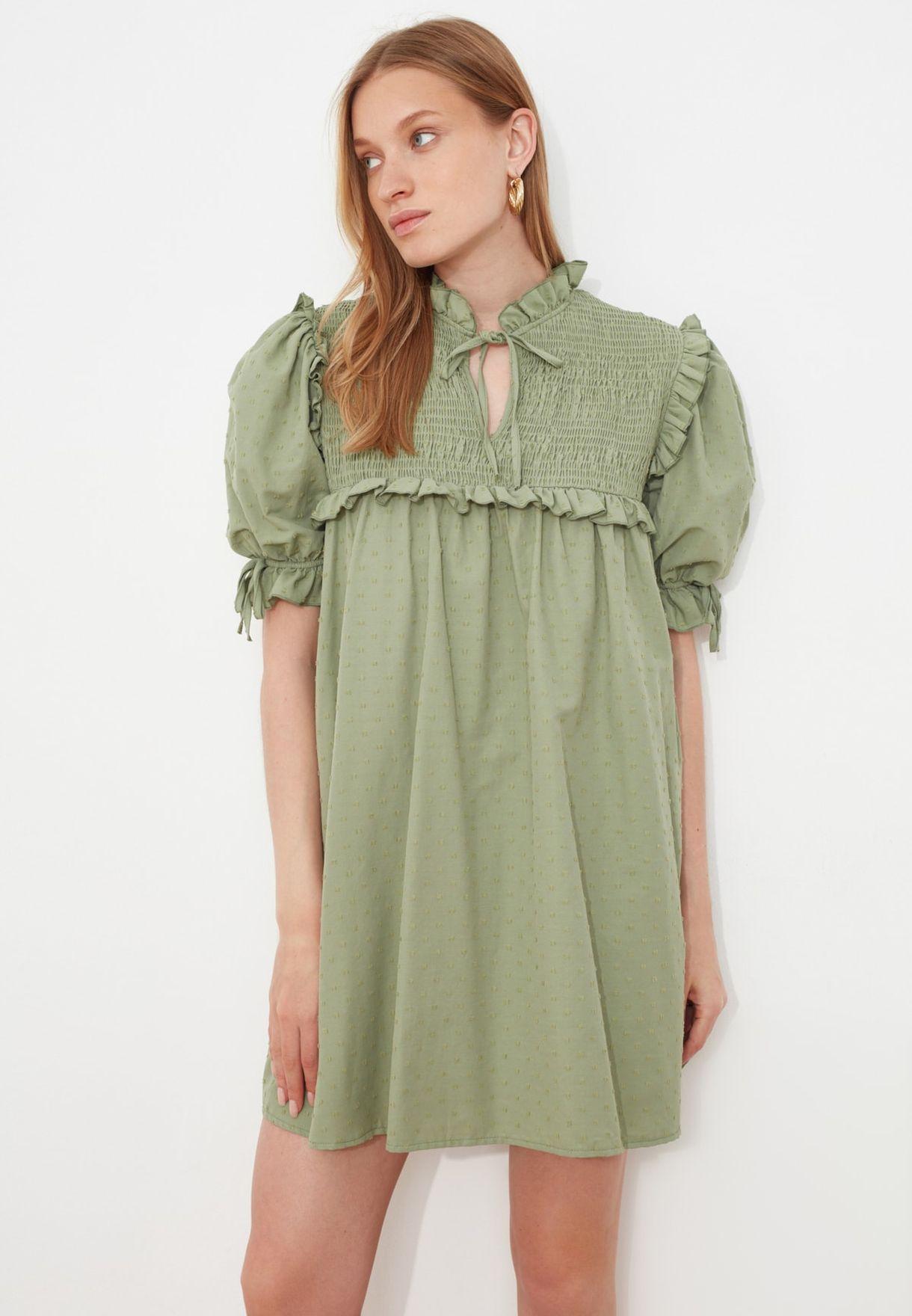 High Neck Shirred Dress