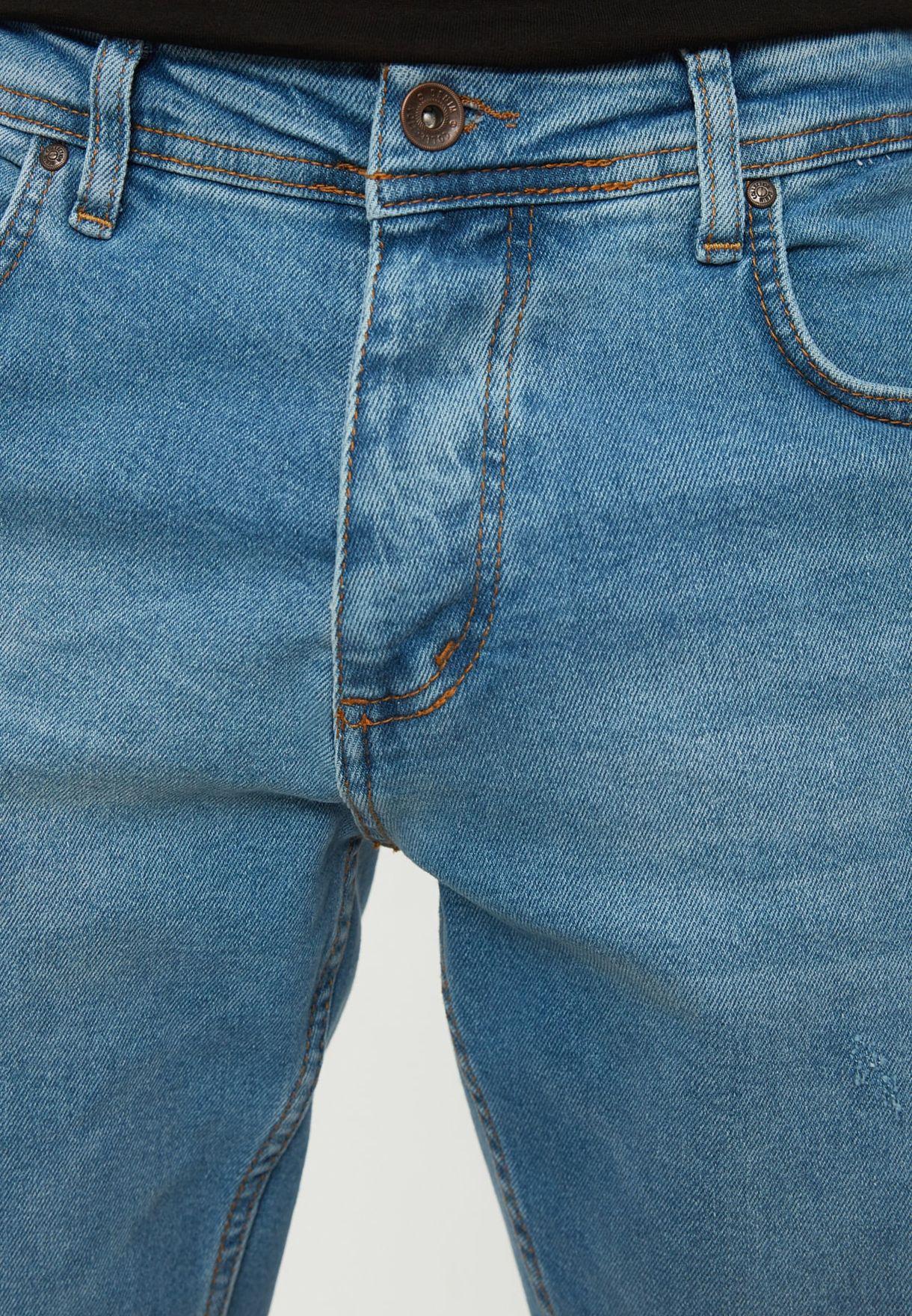 Regular Waist Rake Destroyed Slim Fit Jeans