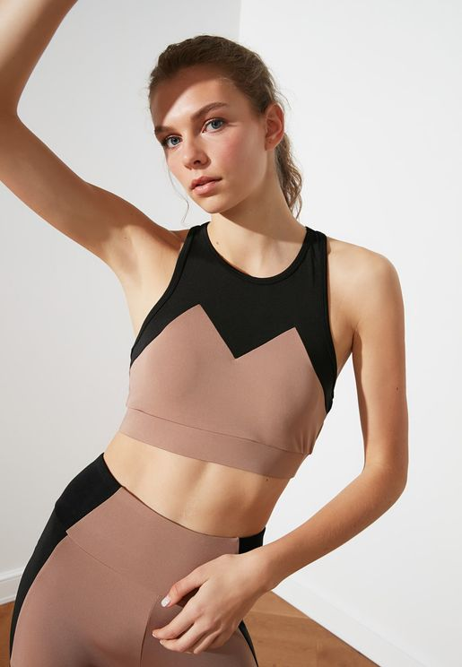Colorblock Knitted Sports Bra