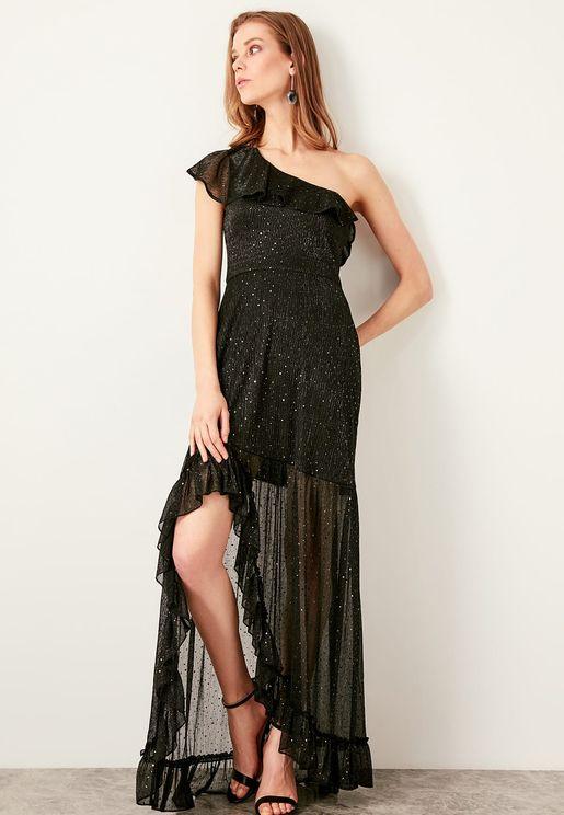 Asymmetric One Shoulder Shimmer Dress
