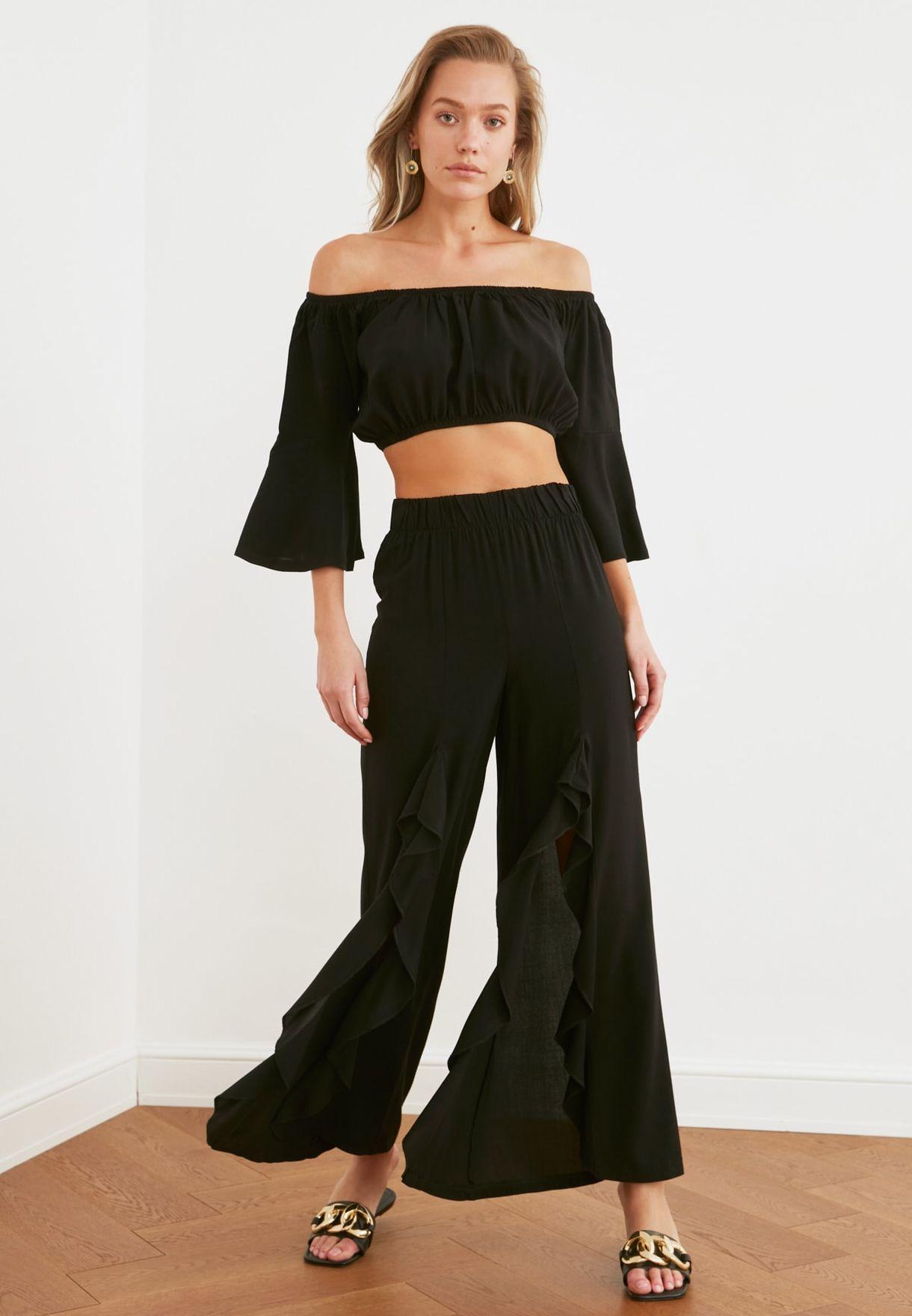 Bardot Crop Top & Pants Set