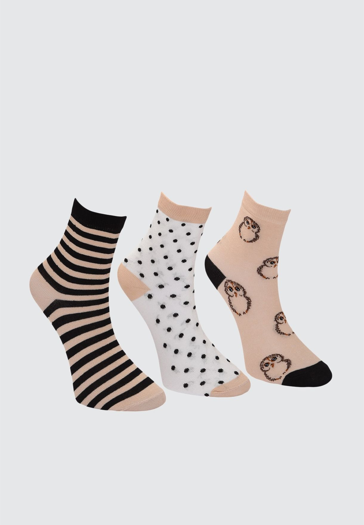 3 Pack Crew Socks