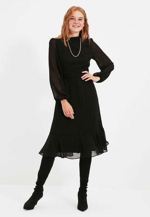 High Neck Sheer Sleeve Dress