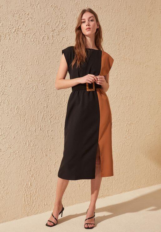 Colorblock Front Split Dress