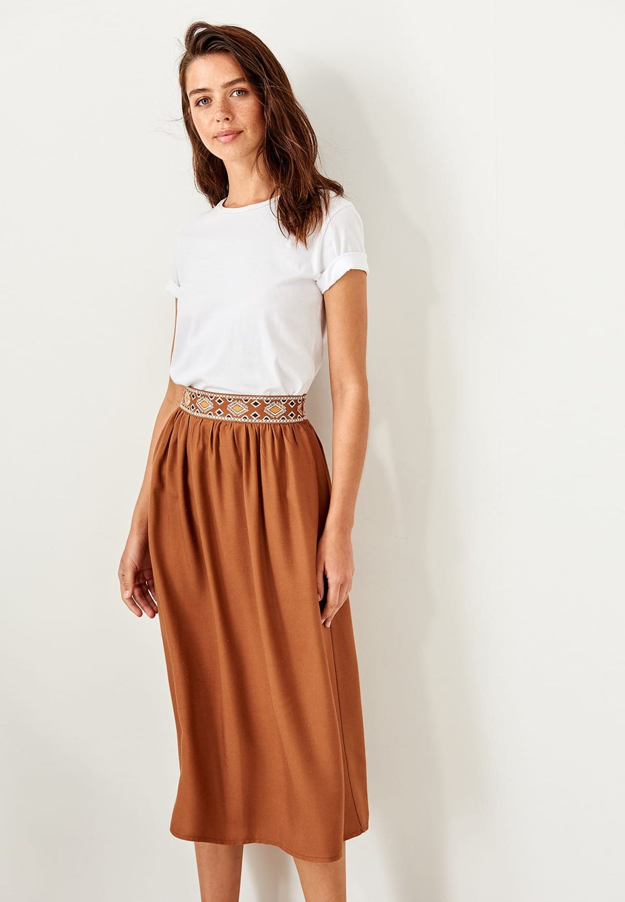 90eea88f02 Shop Trendyol browns Embroidered Waist Skirt TWOSS19GK0021 for Women ...