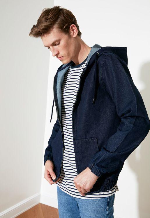 Hooded Zip Through Denim Jacket