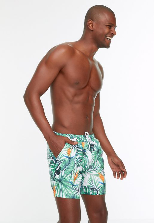 Leaf Print Swim Shorts