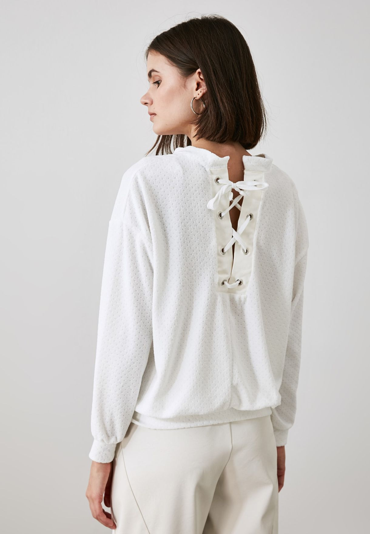 Lace Detail Knitted Sweatshirt