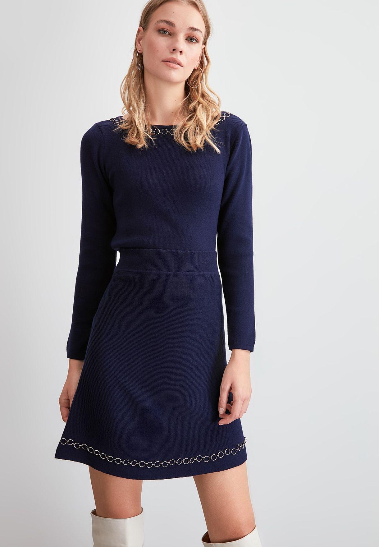 Trendyol Chain Detail Ribbed Skirt - Fashion