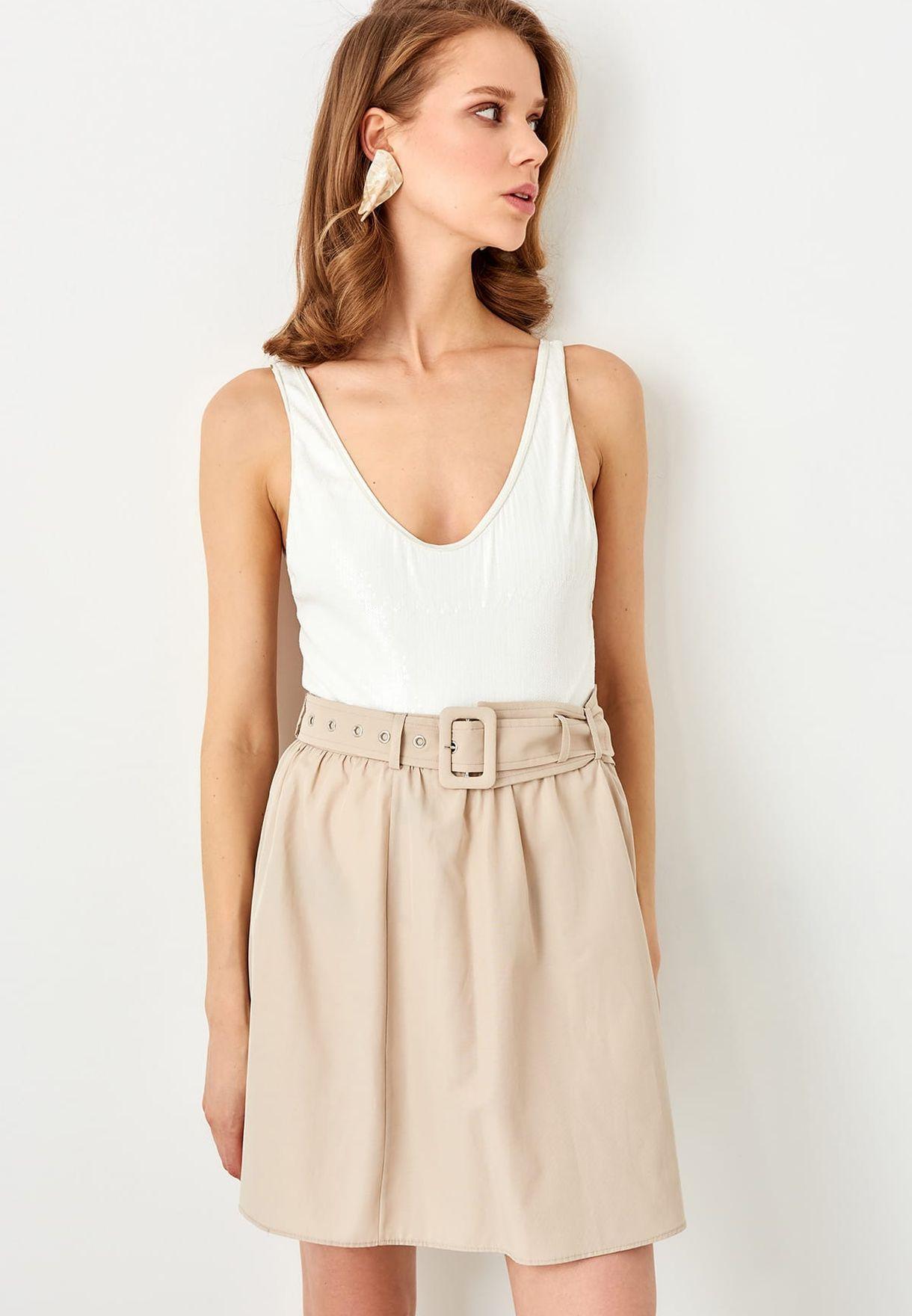 40d915046b Shop Trendyol beige High Waist Mini Skirt TWOSS19BY0045 for Women in ...