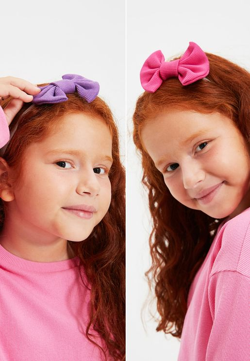 Kids 2 Pack Bow Detail Hairband