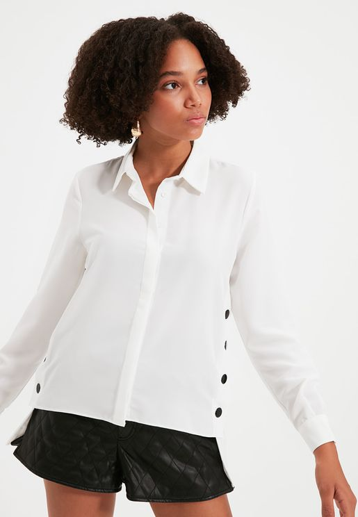 High Low Button Detail Shirt